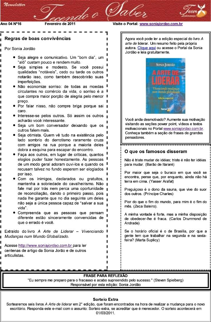 Newsletter Tecendo o Saber - Edição fevereiro de 2011